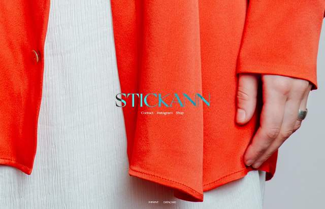Screenshot of the homepage of the minimal website Stickann, published on The Gallery on the 2021-02-16 and tagged with the tags onepage, fashion