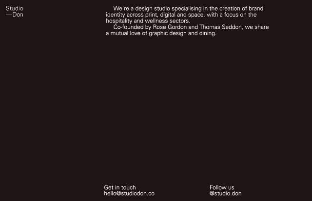 Screenshot of the homepage of the minimal website Studio Don, published on The Gallery on the 2021-06-17 and tagged with the tags studio, minimal, one page