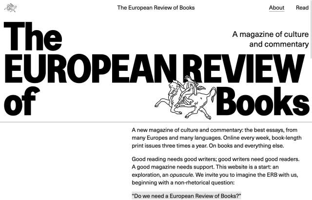 Screenshot of the homepage of the minimal website The European Review of Books, published on The Gallery on the 2021-04-07 and tagged with the tags books, typographic