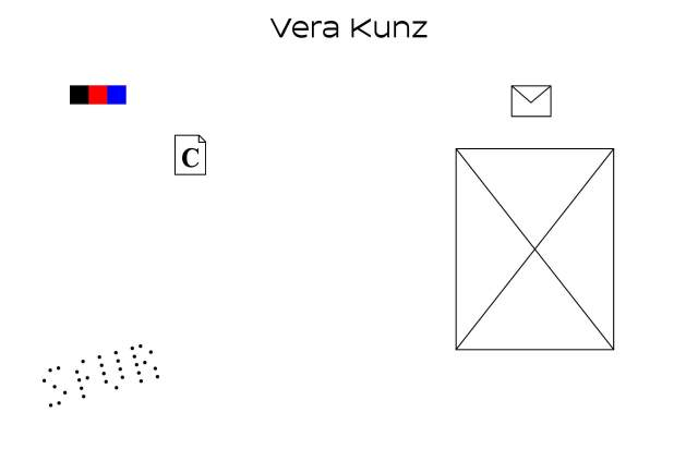 Screenshot of the homepage of the minimal website Vera Kunz, published on The Gallery on the 2021-04-07 and tagged with the tags personal, portfolio